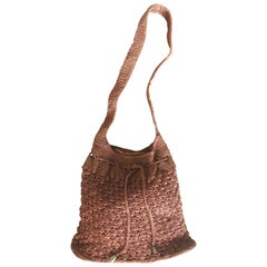 348ef0c8bbf7 1970s Light Brown Italian Rayon Crochet Boho Vintage 70s Hobo Shoulder Bag