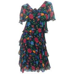 Vintage Holly's Harp 1970s Silk Chiffon Colorful Boho Flapper Style 70s Dress