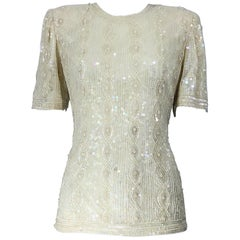 Beautiful Vintage Ivory Off White Sequin Beaded Pearl Encrusted Silk Blouse Top