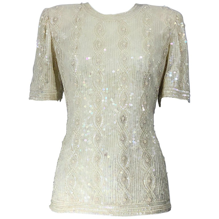 dd25210521237 Beautiful Vintage Ivory Off White Sequin Beaded Pearl Encrusted Silk Blouse  Top For Sale