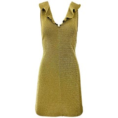 Margano 1990s Italian Gold Metallic Sexy Jersey Vintage Bodycon 90s Dress