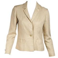 Tan Vintage Chanel Linen Blazer
