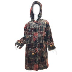 Extra Plush Vintage Faux Fur Equestrian Plaid Print Oversized Hooded Jacket