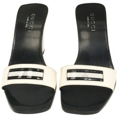 Gucci white charol and black leather Mules
