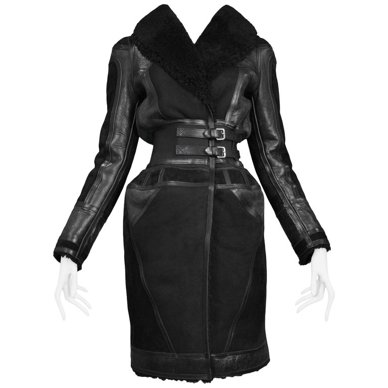 Balenciaga Shearling Lined Suede and Leather Runway Coat, 2007
