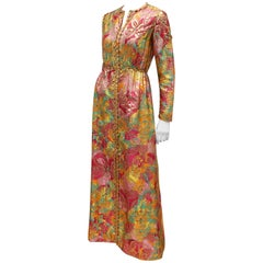 1960's Saks Fifth Avenue Exotic & Colorful Gold Lamé Evening Dress