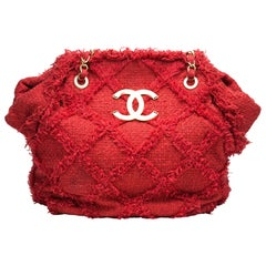 Chanel Soft Woven Red Tweed Fringe Crochet Tote Beach Bag