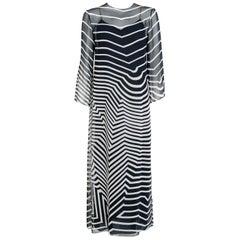 Halston Couture Black and White Graphic Illusion Silk Chiffon Maxi Dress, 1977
