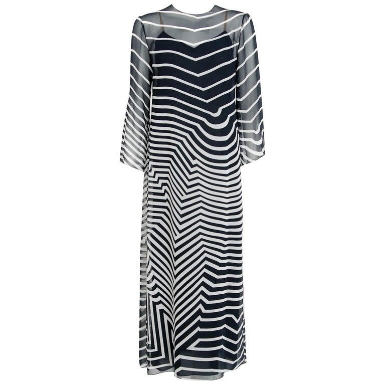 Halston Couture Black and White Graphic Illusion Silk Chiffon Maxi Dress, 1977 For Sale