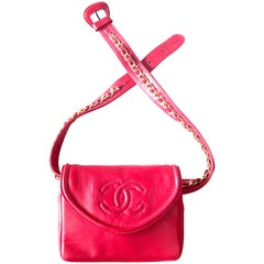 Chanel Vintage red leather belt bag / fanny pack with CC stitch mark and chains