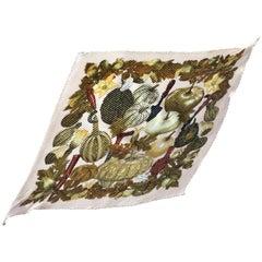 \Vintage HERMES Carre plisse, pink beige pleated silk scarf. Pumpkins. Halloween