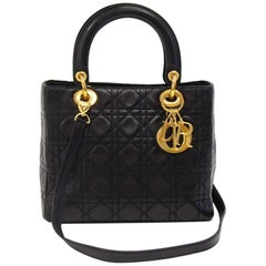Christian Dior Lady Dior Black Cannage Quilted Lambskin Handbag + Strap