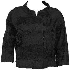 1960s Christian Dior Original Black Broadtail Cropped Jacket