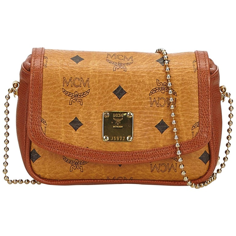 e3fe0156a MCM Brown x Gold Leather Crossbody Bag For Sale at 1stdibs