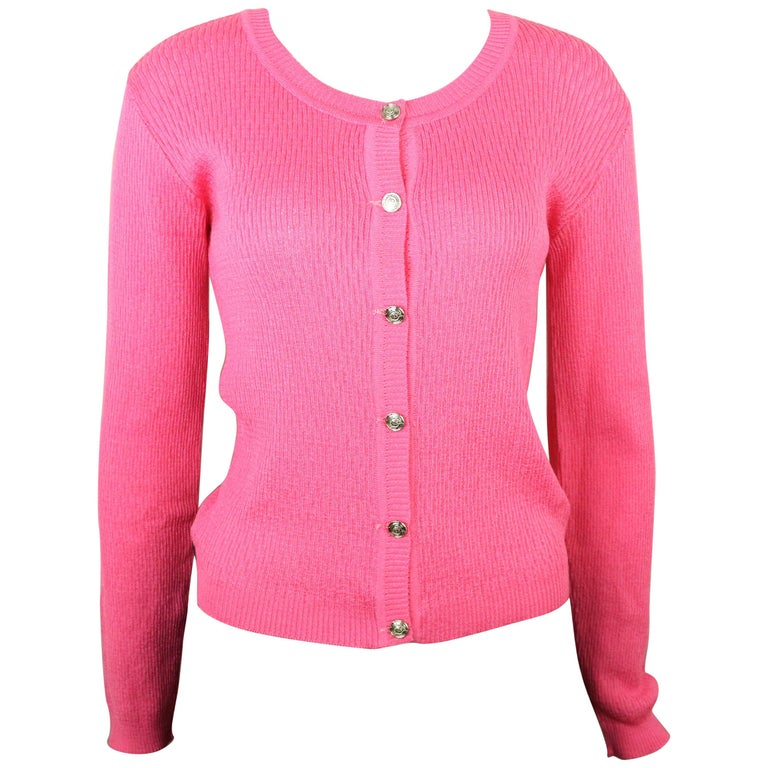 Gianni Versace Jeans Couture Pink Knitted Cardigan  For Sale