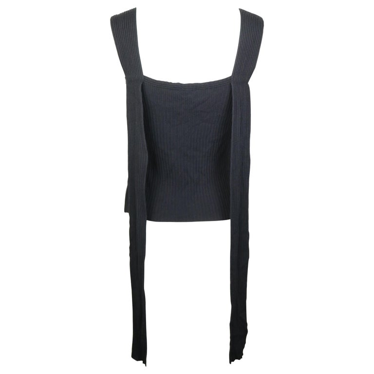 Chanel Black Knitted Cotton and Rayon Sleeveless Top For Sale