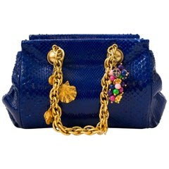Versace Blue Python Gold Chain Bag With Ornaments