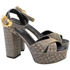 Dolce & Gabbana Embellished Lame Platform Sandals US size 7.5