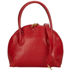 Gucci Red Leather Bamboo Satchel