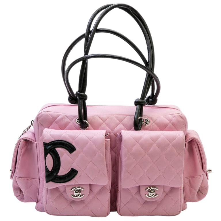 13dc1c5875cc86 Large CHANEL 'Cambon' Reporter Bag in Pink Quilted Smooth Lambskin Leather  For Sale