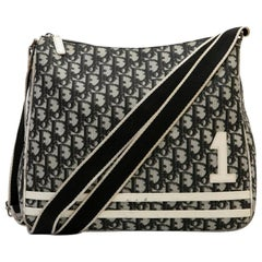 CHRISTIAN DIOR Vintage Bag in Black, White and Gray Monogram Canvas