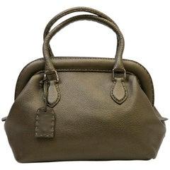FENDI Bag in Green Khaki Grained Leather