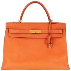 2005 Hermes Orange Togo Leather Kelly 35cm Sellier