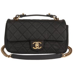 2010s Chanel Black Quilted Matte Caviar Leather Globe Trotter Flap Bag