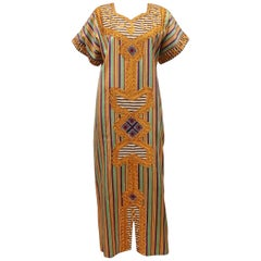 Egyptian Vintage Striped Caftan Dress With Ornate Trim