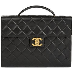 2005 Chanel Black Quilted Lambskin Vintage Jumbo XL Classic Briefcase