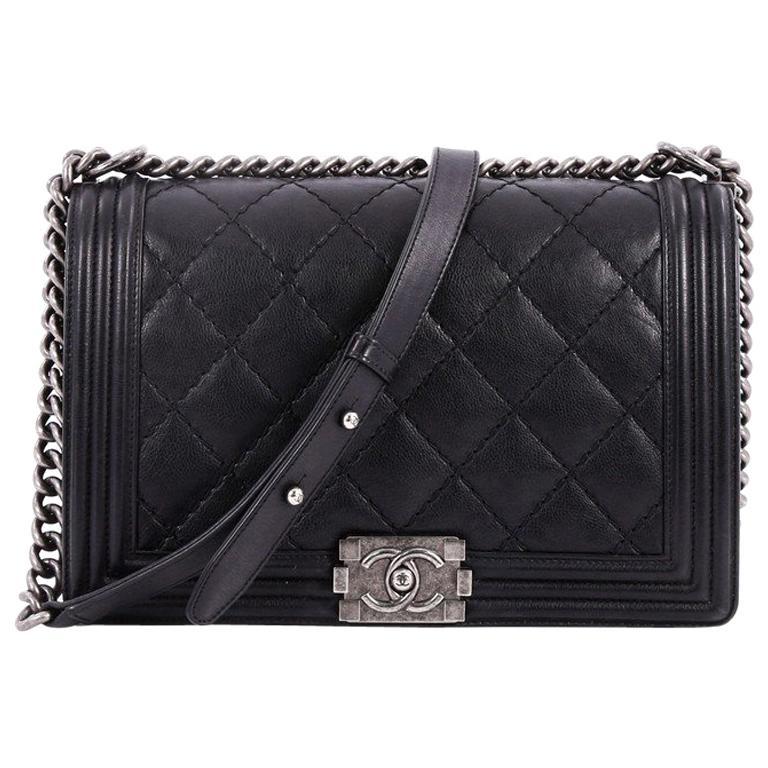 1b77b25c3a768e Chanel Double Stitch Boy Flap Bag Quilted Calfskin New Medium at 1stdibs