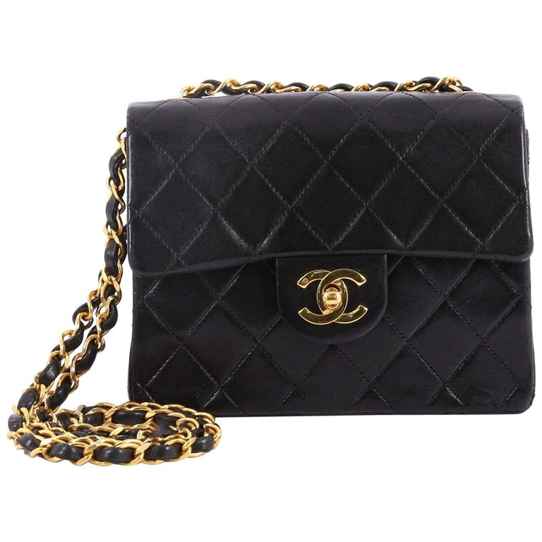 f0cada6a49e389 Chanel Vintage Square Classic Single Flap Bag Quilted Lambskin Mini For Sale