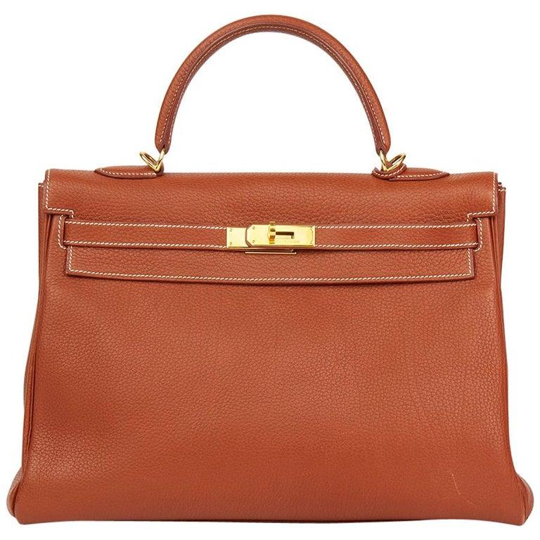 Hermes Brique Togo Leather Retourne Kelly 32cm Bag, 2001