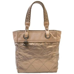 Chanel Biarritz Bag in Gold Beige Quilted Fabric