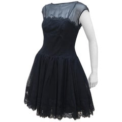 Stanley Platos Black Tulle and Lace Ballerina Cocktail Dress, 1980s