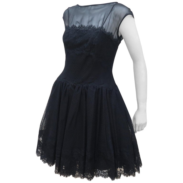Stanley Platos Black Tulle and Lace Ballerina Cocktail Dress, 1980s   For Sale