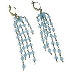 Swinging Dangle Chalcedony Earrings