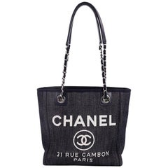Chanel North South Deauville Chain Tote Denim Small