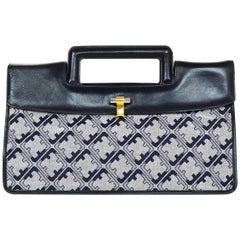 0d449a8c76 Salvatore Ferragamo Vintage Navy Grey Canvas Leather Monogram Top Handle Bag