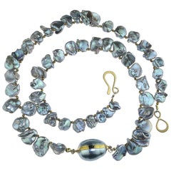 Gray Iridescent Keshi Pearl Necklace
