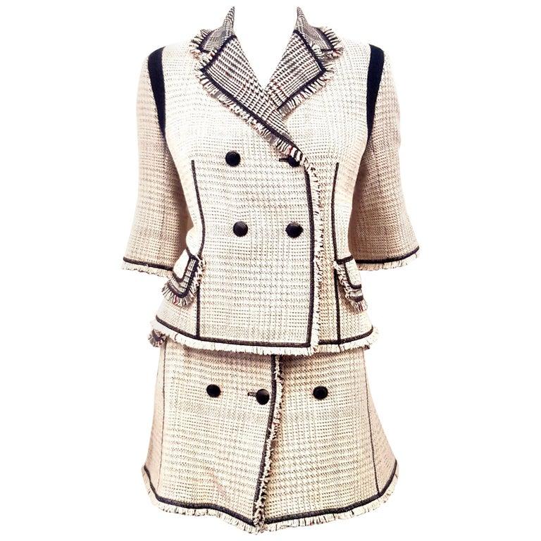 Louis Vuitton Black & Beige RunwayTweed Skirt Suit with Fringe Border Details For Sale