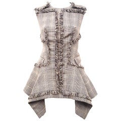 Alexander McQueen Green Wool Houndstooth Sleeveless Fringe Top