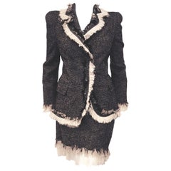 Alexander McQueen Chevron Tweed Wool Skirt Suit with Ivory Silk Fringe