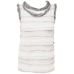 Chanel White and Grey Ruched Top Embellished W/ Silver Tone Faux Pearls