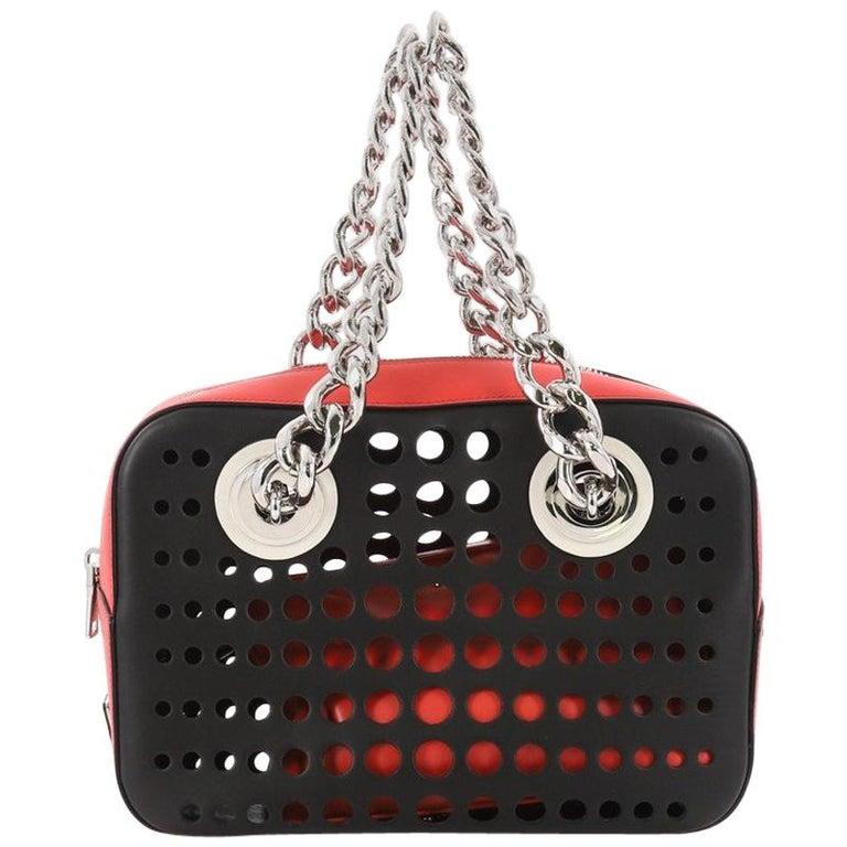 Prada City Fori Chain Shoulder Bag Perforated Calfskin Small at 1stdibs 1859604e6e7d1