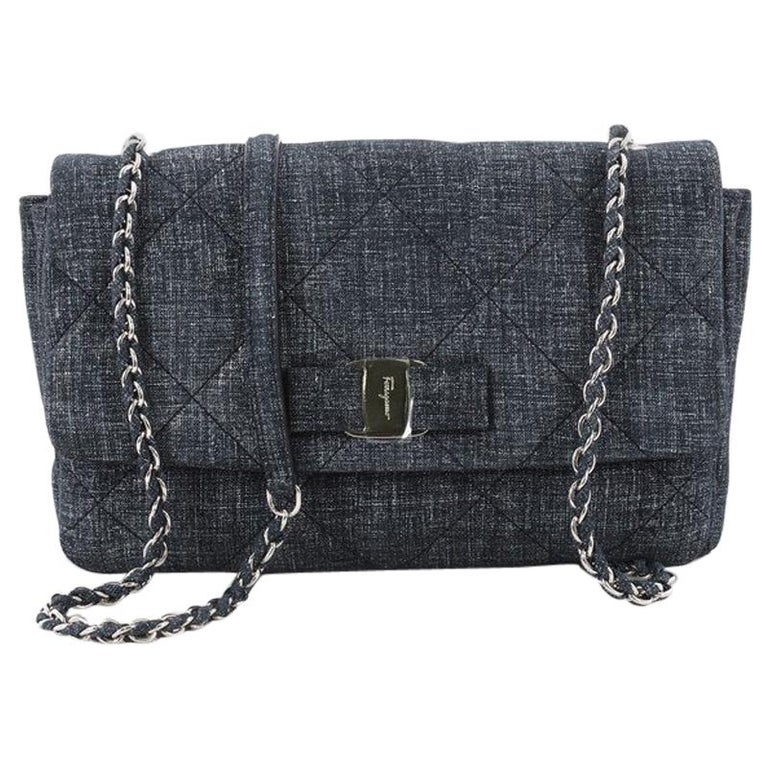 Salvatore Ferragamo Gelly Handbag Quilted Denim Medium