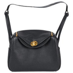 Hermes Lindy 26 Bag Blue Nuit Clemence Gold Hardware