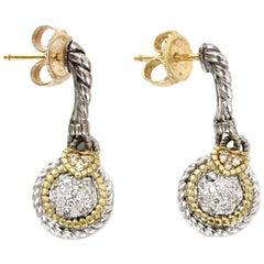 Judith Ripka Sterling/18K Gold W/ Pave Diamonds Drop Earrings