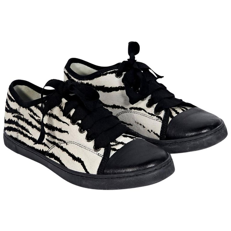 Black & White Lanvin Printed Pony Hair Sneakers
