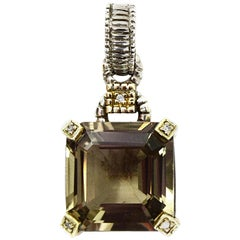 Judith Ripka Sterling/Gold Large Emerald Cut Smoky Quartz Pendant W/ Diamonds